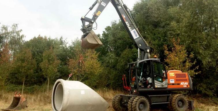 Tiefbauarbeiten an der Wasserskianlage in Hamm-Haaren